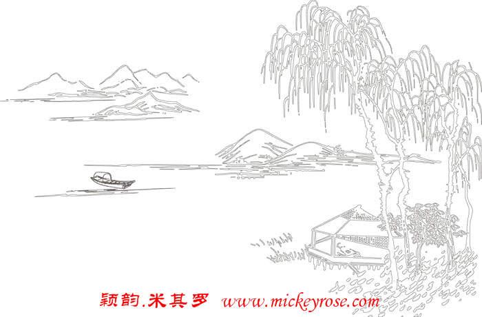 硅藻泥山水画背景矢量图