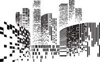 【YY-163】方块状城市剪影建筑高楼大厦矢量图