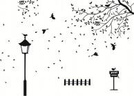 【KT-2021】路灯 树藤 小鸟 路牌 矢量图