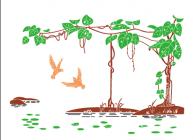 【XD-07-05】葡萄 葡萄架 燕子 矢量图