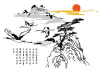 【ZS-14-02】仙鹤迎客松矢量图