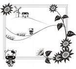 【Y5-W038】向日葵风车矢量图