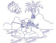 【V-ET-14】椰树和哆啦a梦矢量图