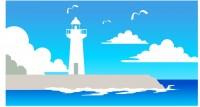 【ETF-063】灯塔 海景和白云矢量图