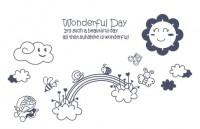【KT-YY-166】英文彩虹哆啦a梦 wonderful day矢量图