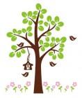 【QS-KT-003】四瓣花和树和鸟笼矢量图