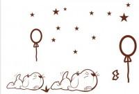 【QS-WS-008】小狗和气球和星星矢量图