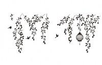 【AA-KTDS-036】树藤 小鸟 鸟笼 矢量图