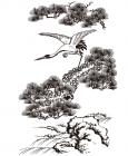 【YY-KT-419】迎客松 仙鹤  矢量图