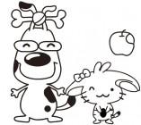 【YY-B047】小狗 苹果 矢量图