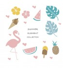 【YY-G128】火烈鸟 西瓜 菠萝 冰淇淋 矢量图