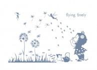 【YY-G115】蒲公英 小女孩 fiying freely 矢量图