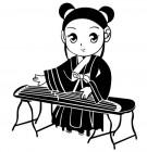 【YY-G149】古代美女弹琴 矢量图