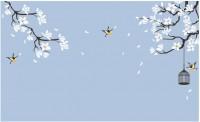 【YY-ZS26】白玉兰 小鸟 鸟笼 矢量图