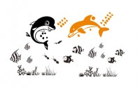 【KT-3135】海景 海豚 矢量图