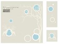 【KT-3090】鹿 树 圆圈 我的心  矢量图