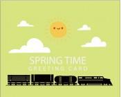 【KT-3124】火车 太阳 白云 spring 矢量图