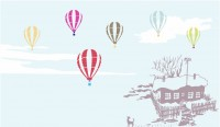 【KT-3127】房子 气球 雪景 矢量图