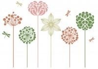 【KT-2554】六瓣花 圆点花树 矢量图