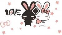 【KT-2552】love 小兔子 五角星 心形 矢量图