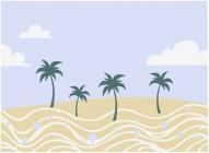 【KT-2613】椰树 波浪 白云 矢量图