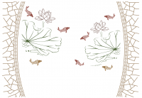 【KT-2693】荷花 鱼 边框 矢量图
