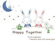 【KT-3175】小兔子 月亮 心形 星星 happy  矢量图