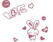 【KT-2713】小兔子 love 爱心  矢量图