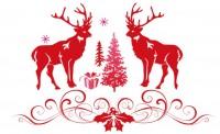 【BO-381】鹿 礼物盒 圣诞树 矢量图