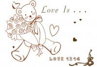 【BO-392】小熊娃娃 心形 玫瑰花 love  矢量图