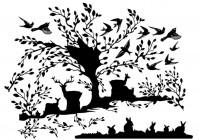 【BO-382】树 鹿 小鸟 矢量图