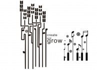 【BO-311】音符 create and grow 矢量图