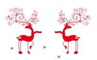 【MS-121】鹿和雪花矢量图