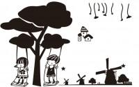 【XD-561】树下小女孩 小男孩 风车 五角星 矢量图