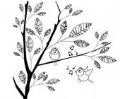 【KT-2873】树叶 小鸟 音符 矢量图