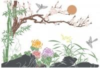 【KT-2909】梅花 菊花 太阳 小鸟 矢量图