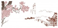 【KT-2893】宝雅 玉兰花 桥  矢量图