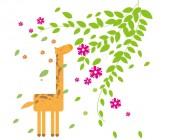 【KT-2942】长颈鹿 树叶  矢量图