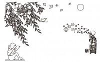 【KT-2972】树叶 美女 小女孩蒲公英  矢量图