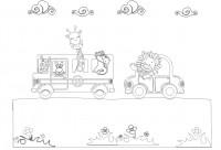 【KT-2956】公共汽车 长颈鹿 白云  矢量图