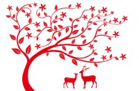 【KT-3234】鹿和树 五瓣花  矢量图