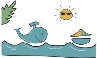 【KT-3265】海豚 太阳 船  矢量图