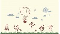 【KT-3386】猴子 降落伞 白云  矢量图