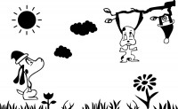 【CX-135-】小狗 太阳 白云 花 小草 矢量图