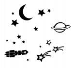 【CX-183】月亮 五角星 飞船  矢量图
