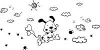 【CX-150】小狗 太阳 脚印 白云 小鸟 气球  矢量图