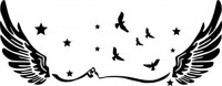 【CX-167】五角星 小鸟 翅膀  矢量图