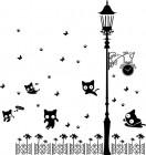 【CX-176】灯下猫咪 蝴蝶 脚印 小花  矢量图