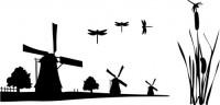 【CX-174】风车 蜻蜓 芦苇  矢量图