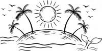 【CX-250】椰树 太阳 大雁 海豚 矢量图